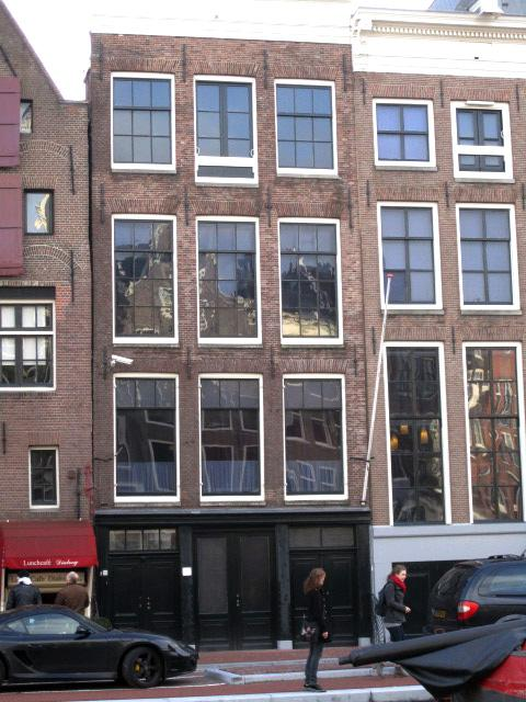 Front view of the Anne Frank House in Amsterdam, The Netherlands