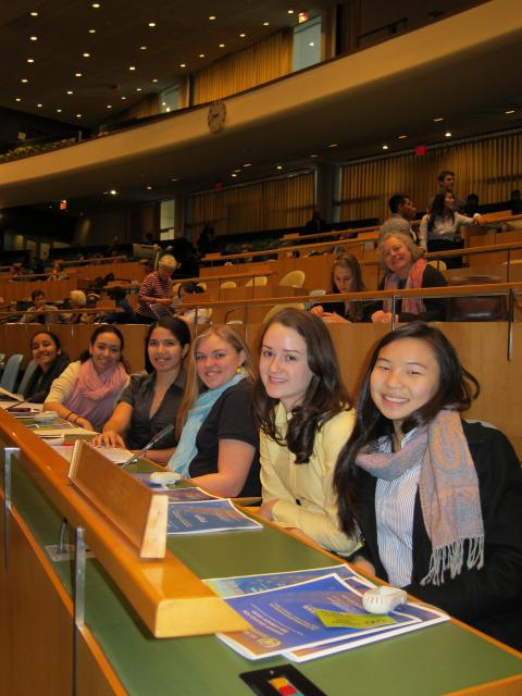 Photo of the high school girls attending UN World Interfaith Harmony week in the UN Chamber.