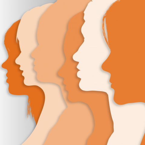 Women profiles in orange